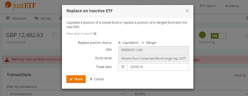 Assistant for ETF liquidation at justETF