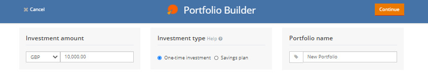 Enter investment amount and select investment type