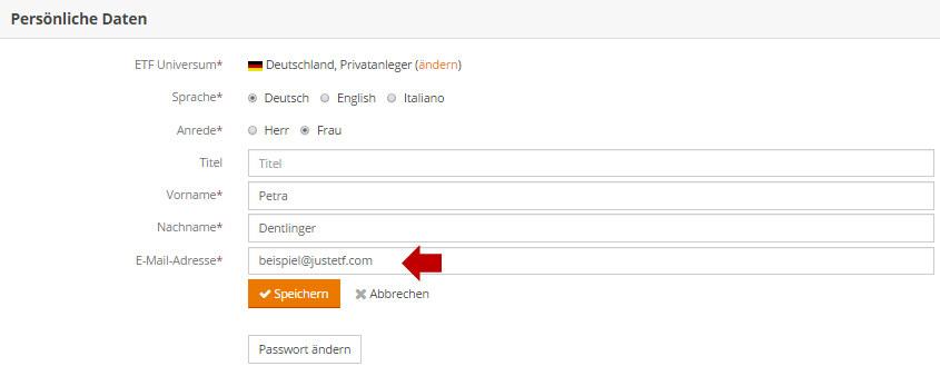E Mail Adresse ändern Justetf