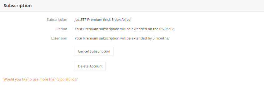 Subscription settings